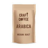 Brown paper food bag package of craft coffee. Realistic vector mockup template. Vector packaging design. Royalty Free Stock Images