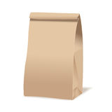 Brown paper food bag package. Realistic vector mockup template. Vector packaging design. Stock Photo