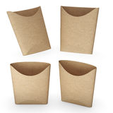 Brown paper french fries bucket with clipping path Stock Photos