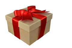Brown paper gift box with red ribbon isolated Stock Photo