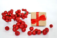 Brown paper gift box with red ribbon surrounded by red berries Royalty Free Stock Images