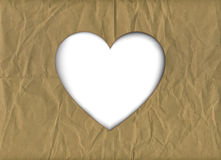 Brown paper heart cutout Stock Photos