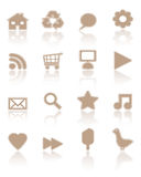 Brown paper icons, set 1 Stock Photo