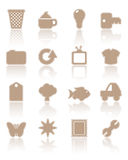 Brown paper icons, set 2. Collection of icons in brown paper style Stock Images