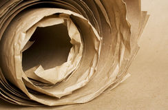 Brown paper kraft roll. Sheets of brown paper kraft roll texture Stock Photo