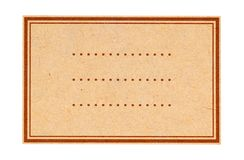 A brown paper label. Stock Image