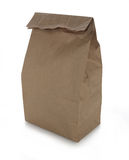 Brown Paper Lunch Bag. Isolated on white Royalty Free Stock Photo