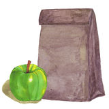 Brown paper Lunch bag with green apple. stock illustration