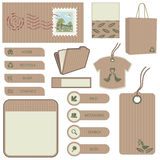 Brown paper object set. Collection of tags, buttons, tabs, bag, folder and stamp in brown paper design Royalty Free Stock Image