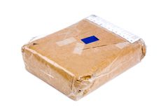 Brown paper package. A brown paper package close up shot Royalty Free Stock Photos