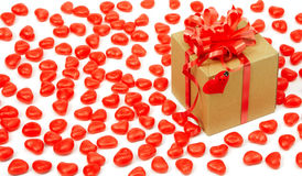 Brown paper package. With heart Stock Photography