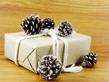 Brown paper package tied up with strings christmas present wrapped in recycled paper and christmas decoration Stock Photos