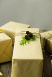 Brown paper packages tied up with string Stock Photography
