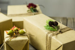 Brown paper packages tied up with string Royalty Free Stock Images