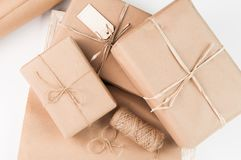 Brown paper packages wrapped up with string Royalty Free Stock Photos