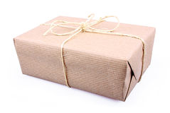 Brown paper parcel isolated on white Royalty Free Stock Image