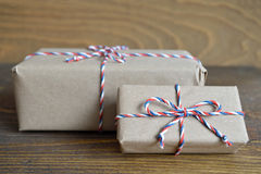 Brown paper parcel tied with string Royalty Free Stock Photo