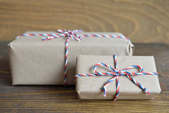 Brown paper parcel tied with string Royalty Free Stock Image