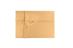 Brown paper parcel wrap delivery isolated on white Royalty Free Stock Photos