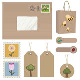 Brown paper postage. Objects with flowers, trees and wildlife Stock Image