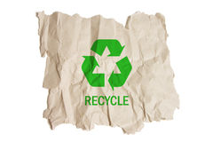 Brown Paper with Recycle Symbol. On White Background Stock Photos