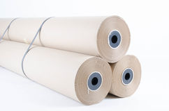 Brown paper rolls Stock Photos