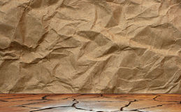 Brown paper sheet on wood Stock Image