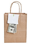 Brown paper shopping bag Stock Photos
