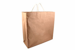 Brown Paper Shopping Bag. Paper shopping bag isolated on white background Stock Photo