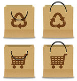 Brown Paper Shopping Bag Set Stock Photo