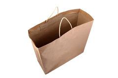 Brown Paper Shopping Bag. Shot from above, isolated on white background Stock Photography