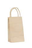 Brown paper shopping bag on white Stock Images