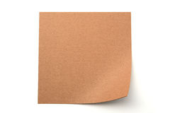 Brown paper stick note on white background Stock Photography
