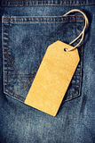 Brown paper tag of jean. Empty brown paper tag of jean Stock Photo