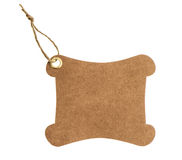 Brown paper tag with metal rivet isolated on white Royalty Free Stock Photography