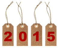 Brown paper tag with string. New Year 2015 Royalty Free Stock Images