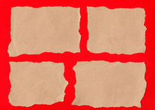 Brown paper tears. Collection of brown paper tears, isolated on red background for messages royalty free stock photography