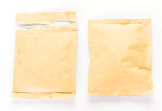 Brown paper and torn paper food package stock photo