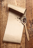 Brown paper on wood Stock Photo