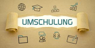 Brown paper work with learning icons and retraining. Brown paper work with learning icons and the german word for retraining for a new job - Umschulung royalty free stock photo