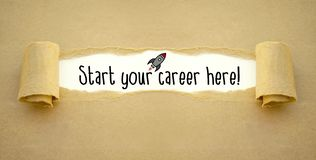 Paper work with rocket and start your career here stock photos