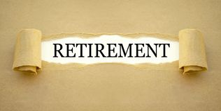 Paper work with word retirement stock photo