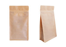 Brown paper zipper bag isolated on white background. Food packag Royalty Free Stock Photos