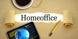Paperwork with cup of coffee, pencil and tablet mit home office stock photo