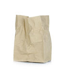 Brown papierowa torba odizolowywająca na białym tle Fotografia Stock