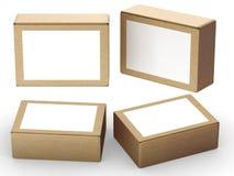 Brown papierowy pudełko pakuje z białą etykietką royalty ilustracja