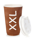 Brown papieru herbaty lub filiżanki kawy zakończenie odizolowywający na białym tle Zdjęcia Stock