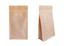 Brown papieru suwaczka torba odizolowywająca na białym tle Karmowy packag Zdjęcia Royalty Free