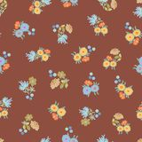 Brown pattern with flowers. vector illustration