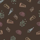 Brown pattern with sweets Stock Photos
